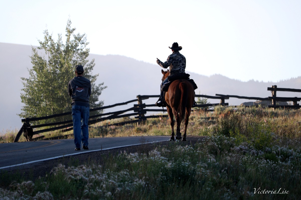 Victoria Lise Rancher on Horseback Chats with Local