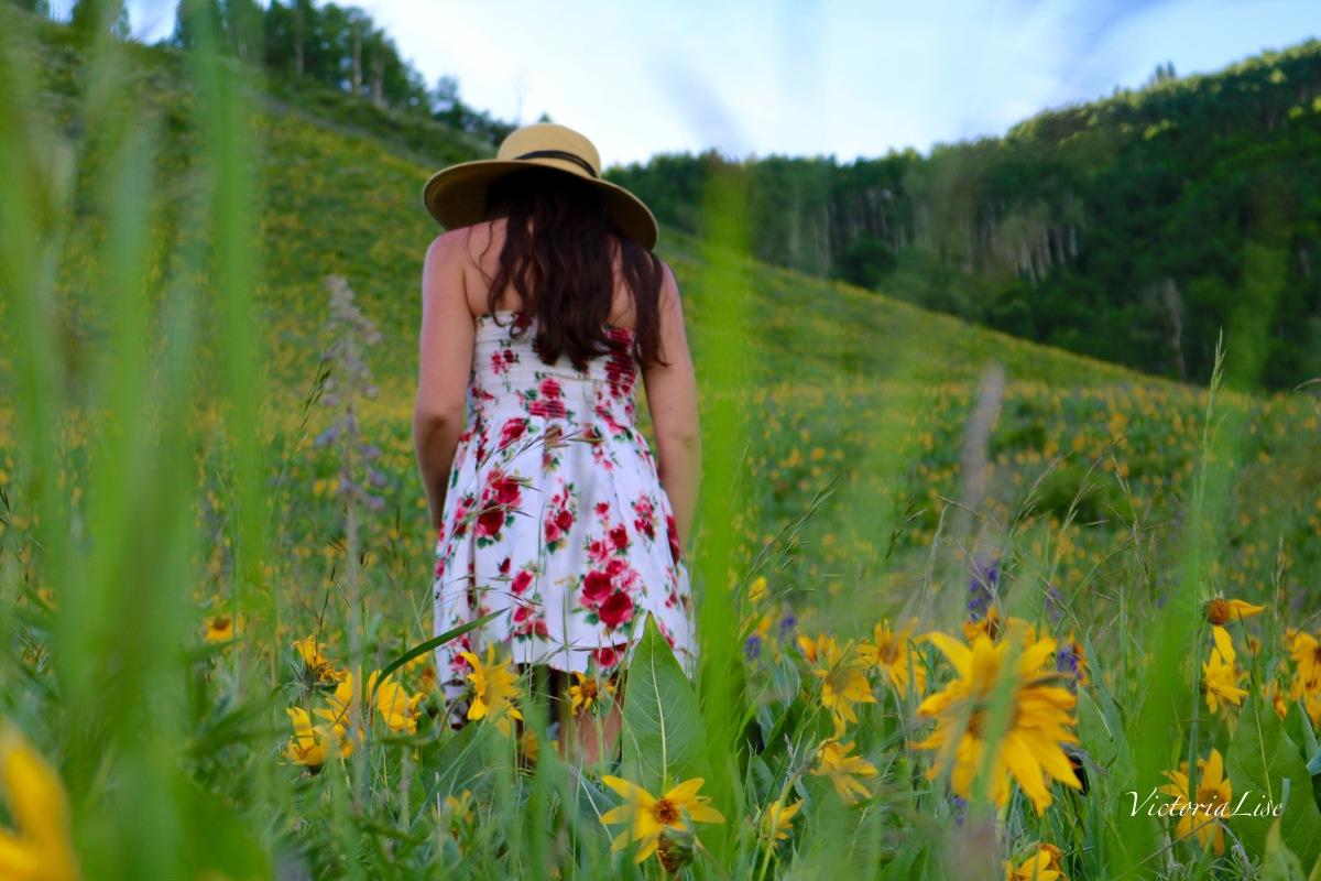 Victoria Lise in Wildflower Field Colorado Color
