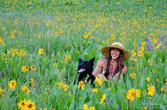 Victoria Lise and Dog in Wildflower Field Colorado Color