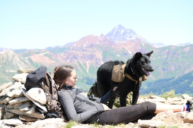 Victoria Lise Atop Gothic Mountain with Dog Colorado Color