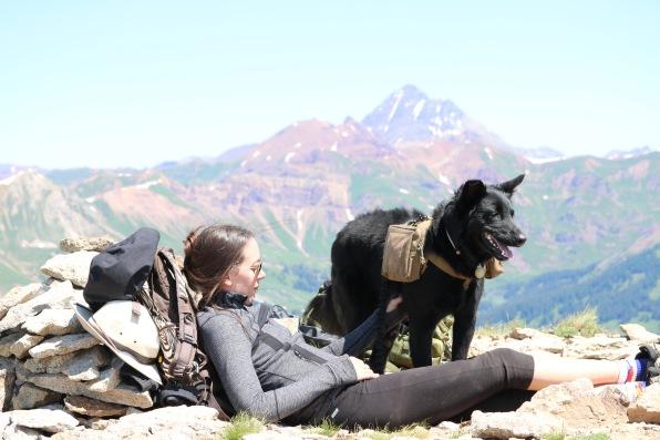 Victoria Lise Atop Gothic Mountain with Dog Colorado Color