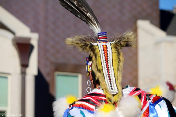 Victoria Lise National Day of Action Native Head dress