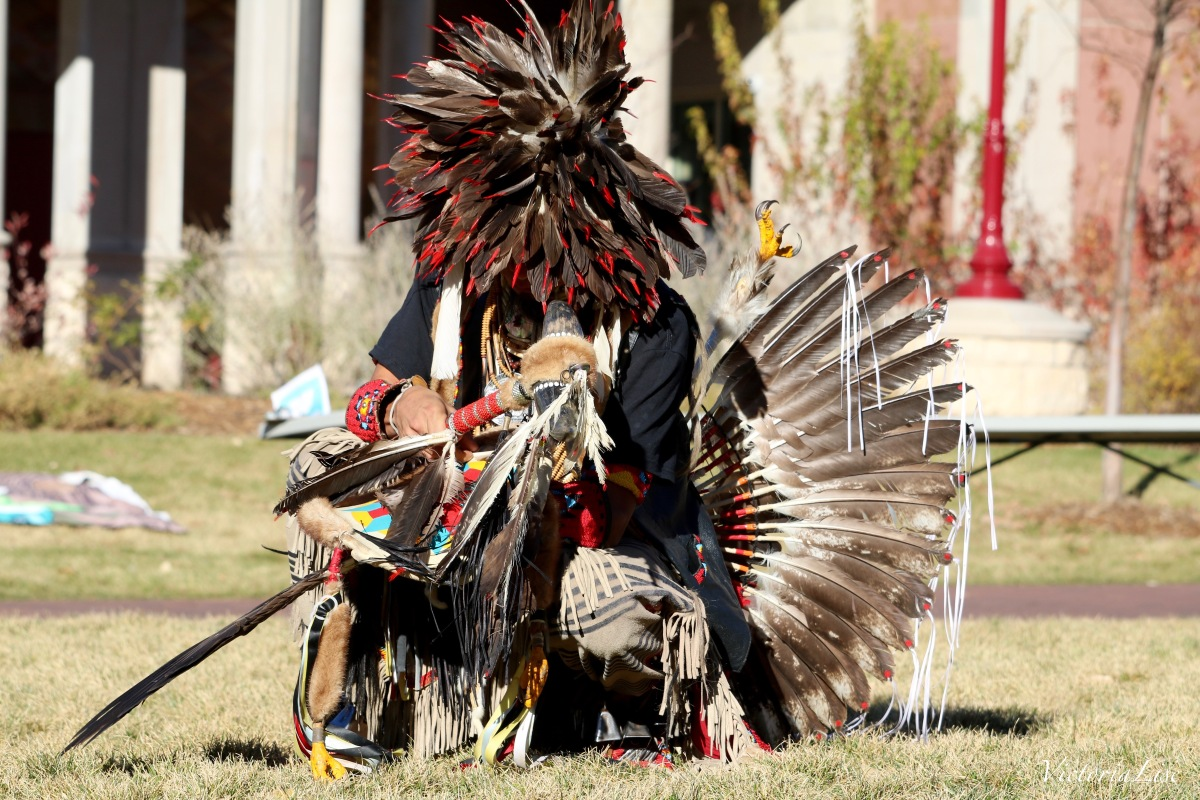 Victoria Lise Kneeling Native Eagle Dancer at DU Water Gathering