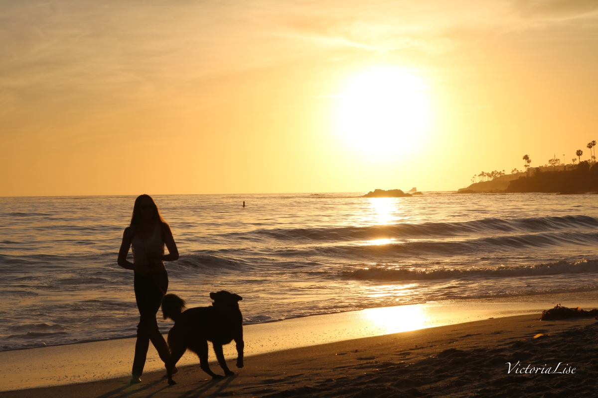 Victoria Lise Walks Laguna Beach at Sunset