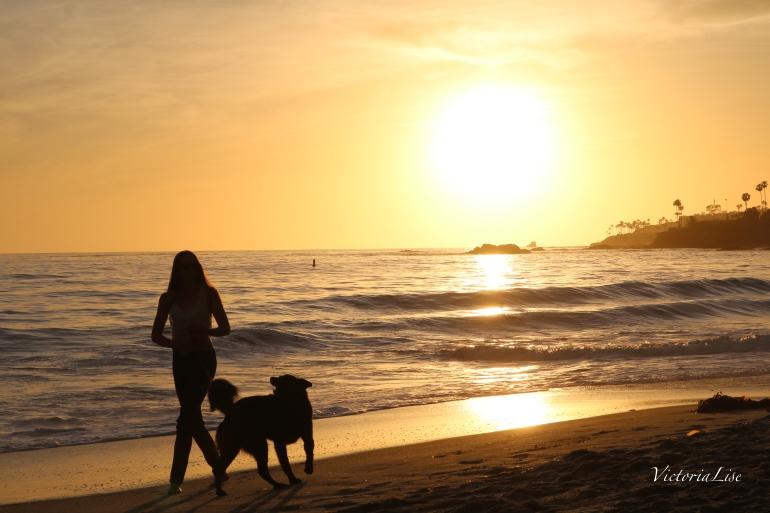 Victoria Lise Walks Laguna Beach at Sunset
