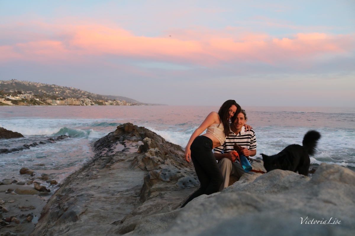 Victoria Lise Honeymoon sunset on Laguna Beach