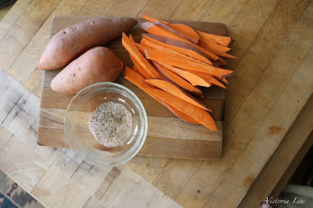 Victoria Lise Recipe Post Cut Sweet Potatoes and Spice mix