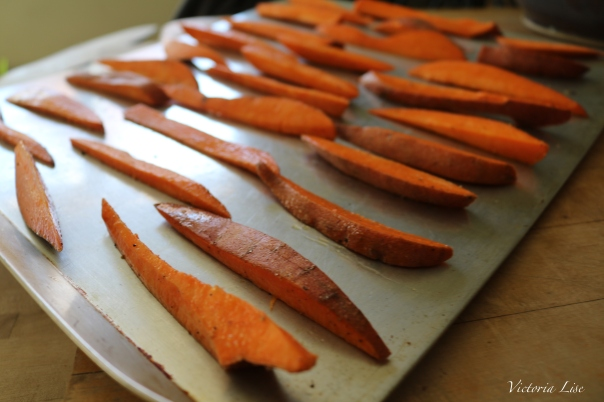 Victoria Lise Recipe Post Sweet Potato French Fries Prepared for Baking