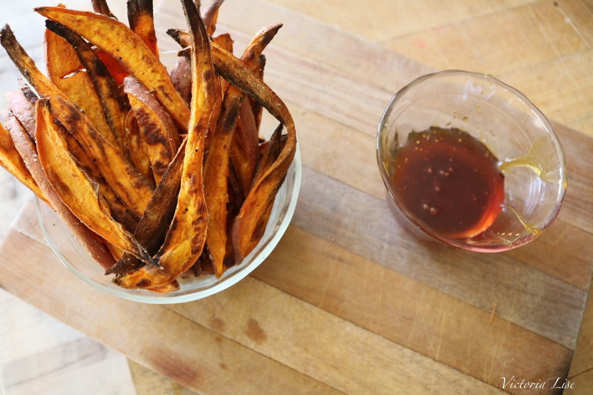 Victoria Lise Recipe Post Sweet Potato Fries and Honey Dipping Sauce