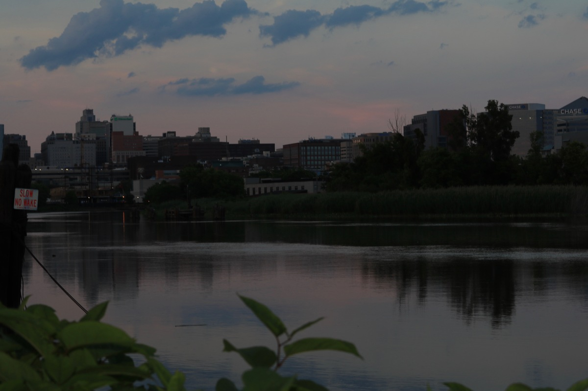 Victoria Lise Wilmington city skyline along Christina river at sunset