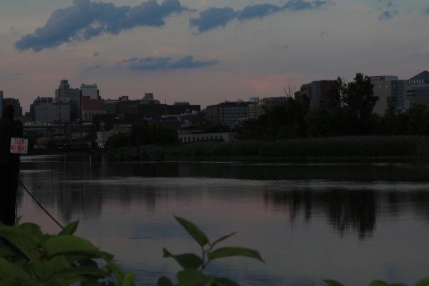 Victoria Lise Wilmington city skyline along Christina river at sunset