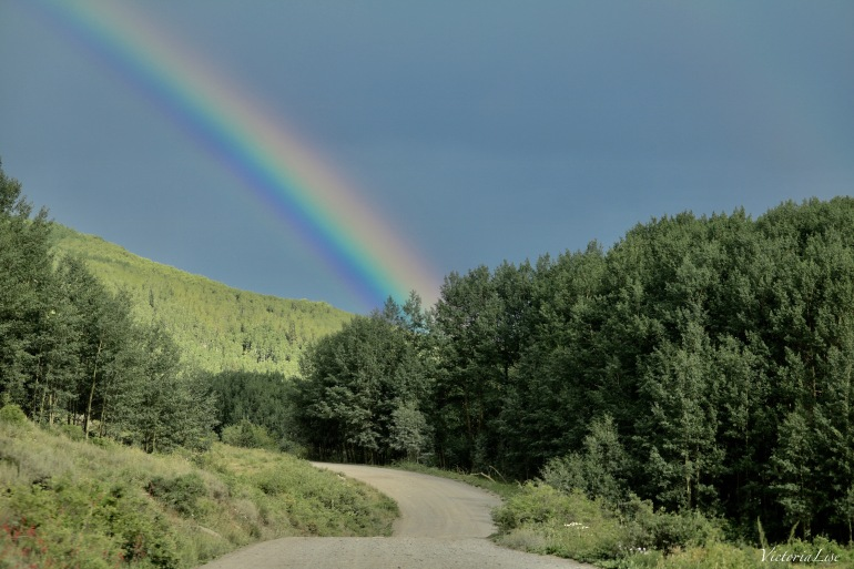 Victoria Lise Rainbow Over Dirt Road in Crested Butte