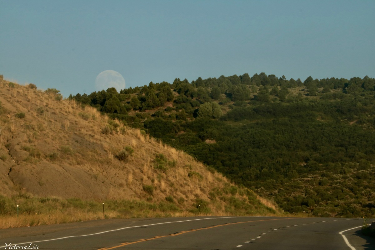 Moonrise over Highway 50 Colorado