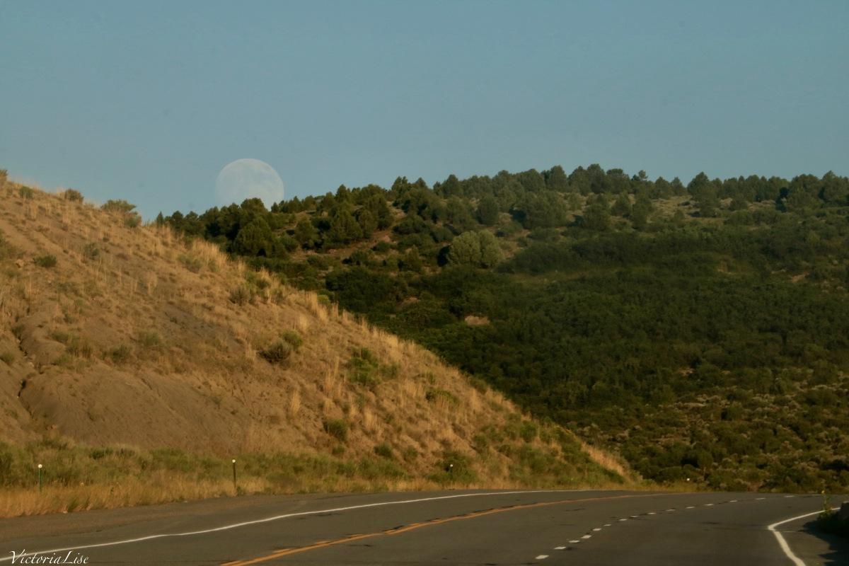 Moonrise over Highway 50 Colorado