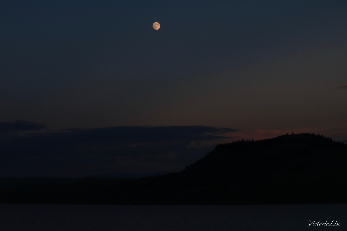 Moonrise and Sunset over Blue Mesa Reservoir, Colorado