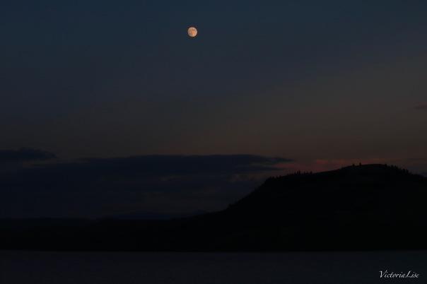 Moonrise and Sunset over Blue Mesa Reservoir, Colorado