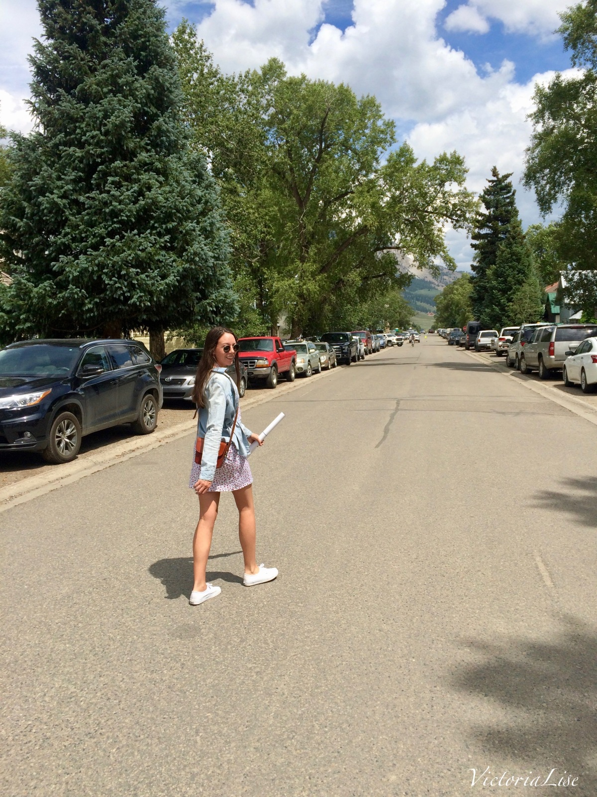 Victoria Lise walking down Sopris St. in Crested Butte, CO