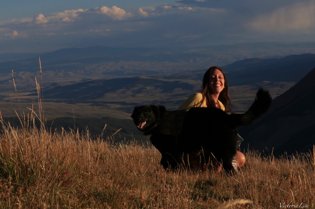 Victoria Lise and dog, Styx sunset summit