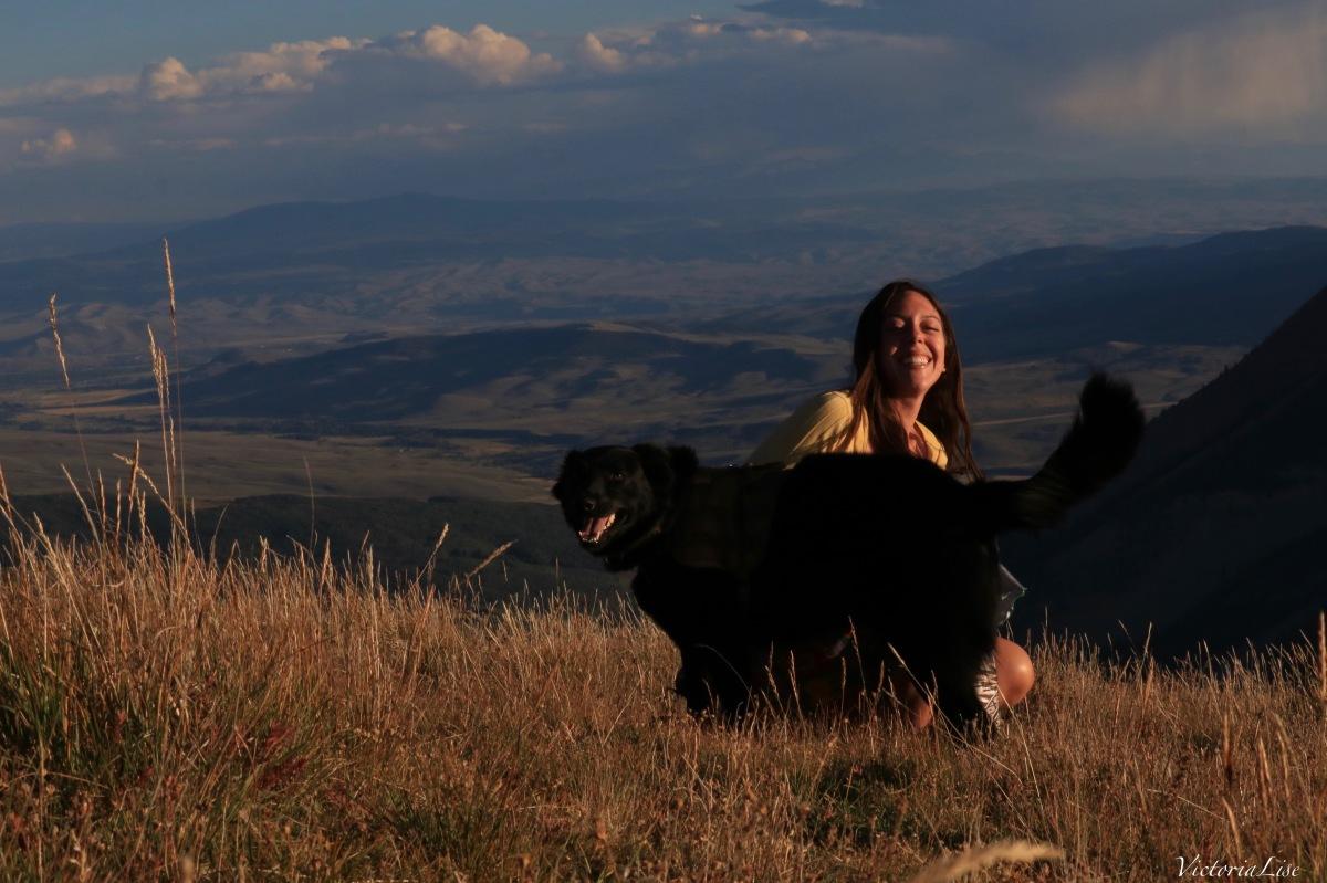 Victoria Lise and dog, Styx sunset summit
