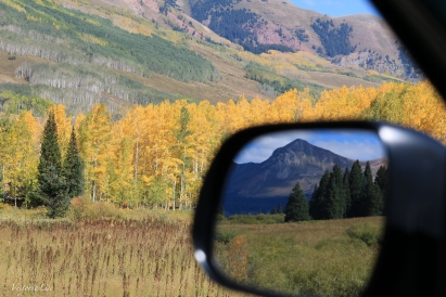 Mountain reflected in car mirror unedited Victoria Lise