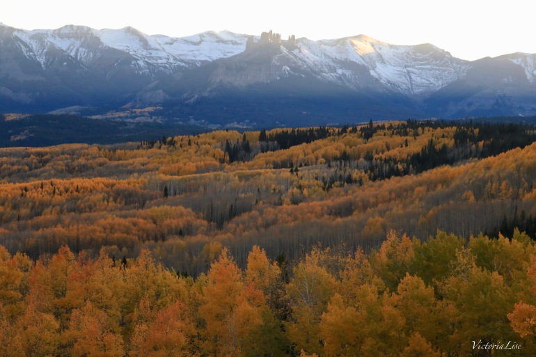 The last light on The Castles during fall, near Crested Butte, Colorado. Victoria Lise 2017