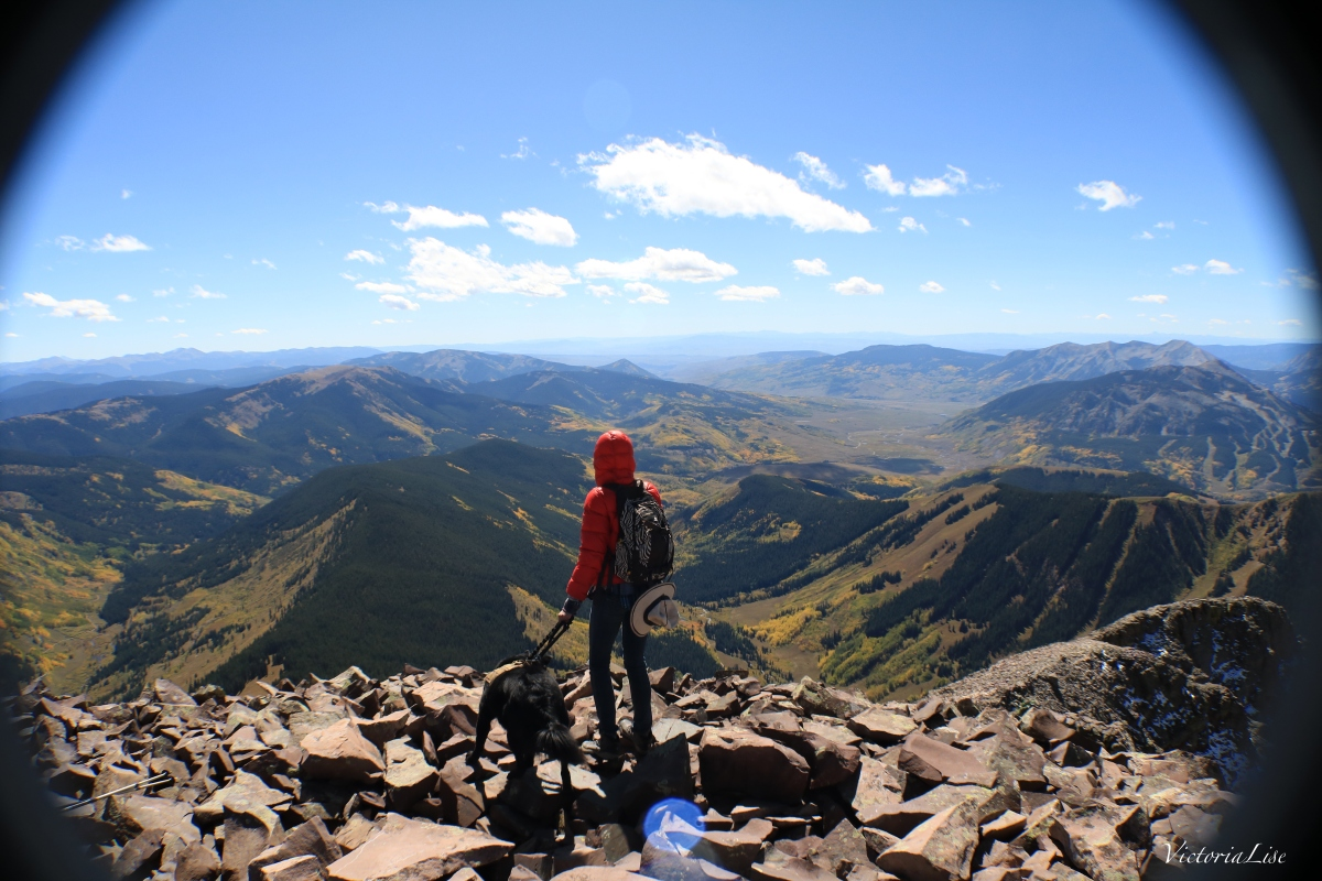 Victoria Lise and dog, Styx atop Teocalli Mountain Colorado