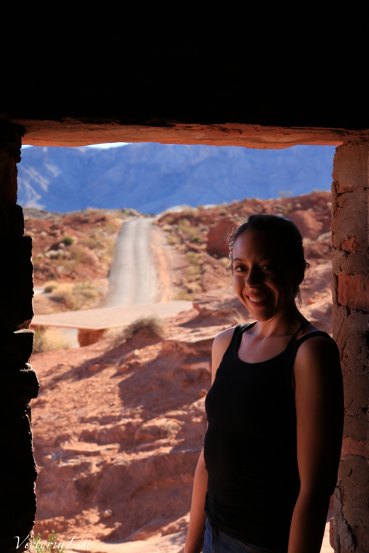 Victoria Lise in Mojave desert doorway.