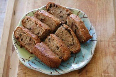 Sliced vegan banana bread.