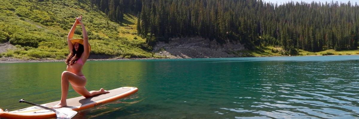 Victoria Lise practicing SUP yoga on Emerald Lake, Colorado.