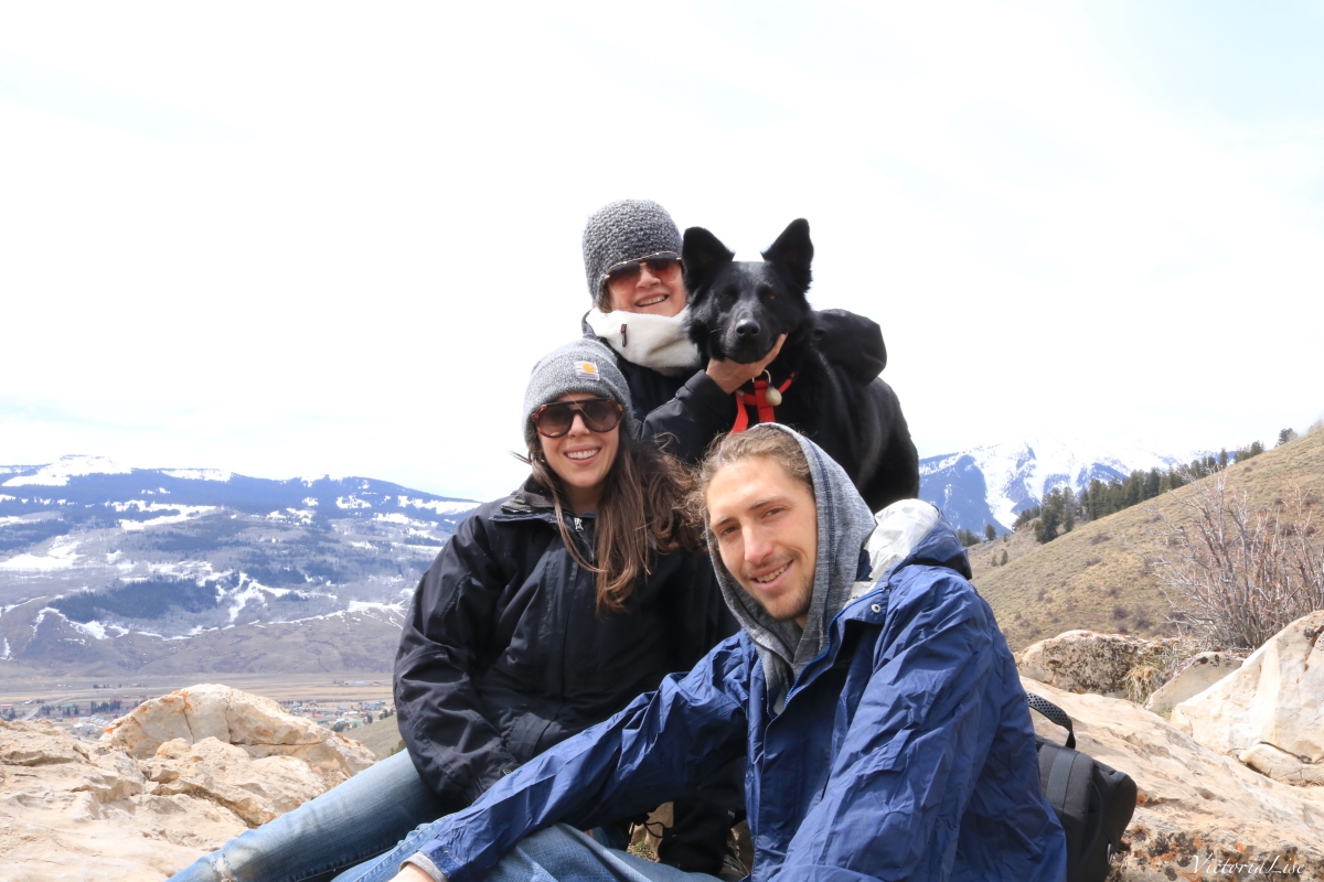 Victoria Lise and family on top of the caves in Crested Butte South, Colorado.