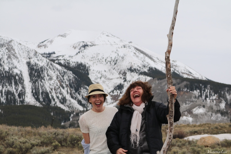 Victoria Lise laughs with mom in front of Whetstone mountain, Colorado.