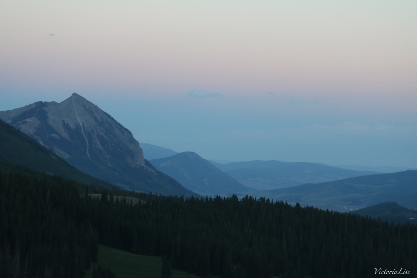 Layers of Mountains colored by sunset. Crested Butte, CO. ©Victoria Lise 2018.