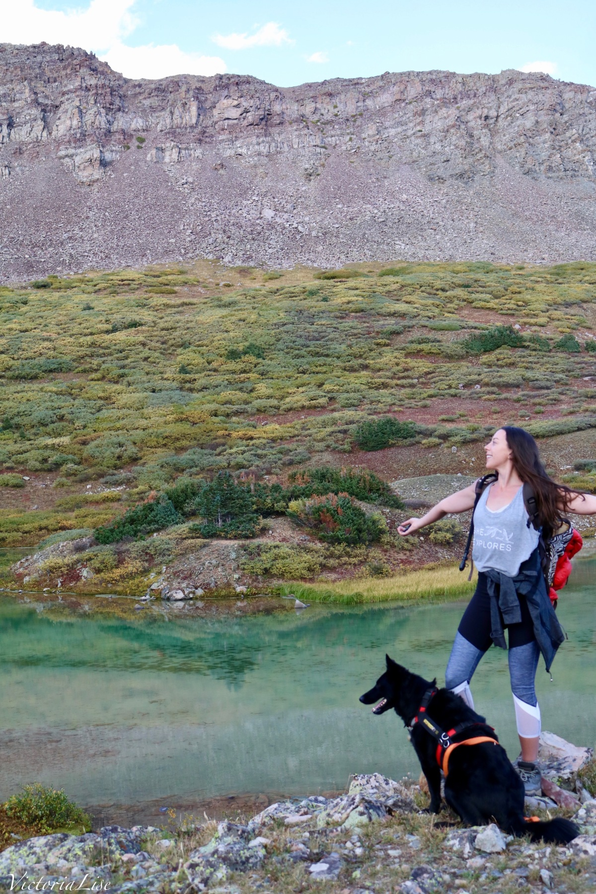 Victoria Lise and rescue pup, Styx at Twin Lakes, Colorado.