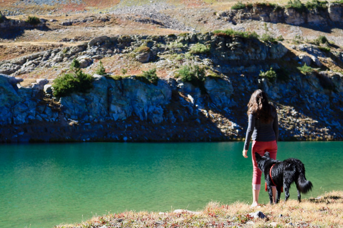 Victoria Lise with dog, Styx at Blue Lake.