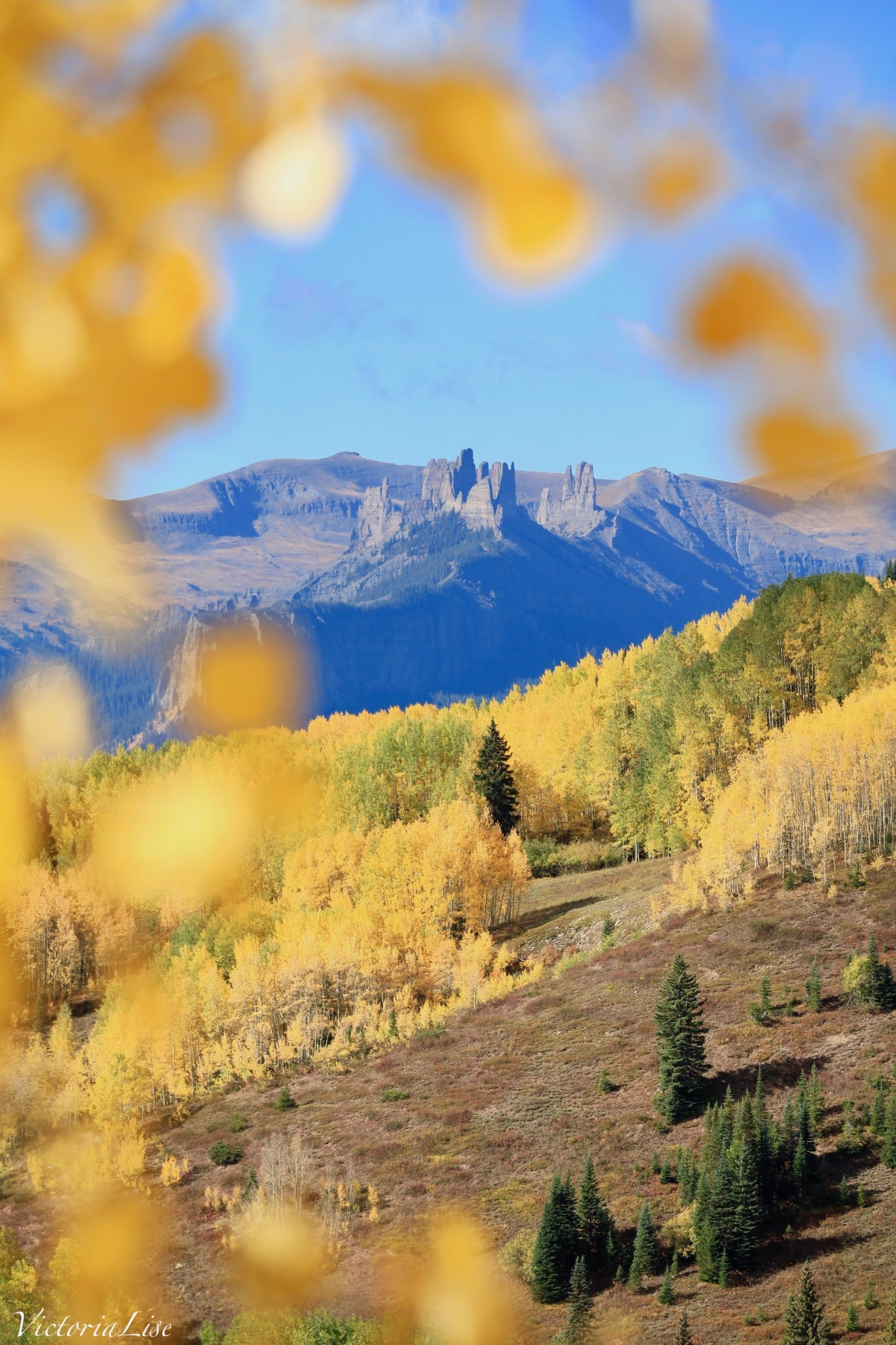 The Castles of Gunnison, Colorado, framed by a cluster of yellow aspen leaves. ©Victoria Lise 2018.